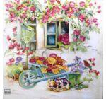 Szalvéta - Virágos talicska