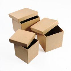 Papírmasé dobozkészlet 3db kocka alakú