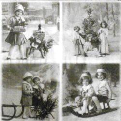 Szalvéta - Téli szórakozás vintage
