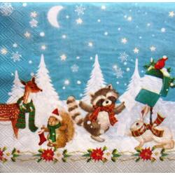Szalvéta - Erdei állatok karácsonya