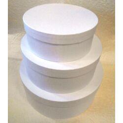 Papírmasé kalapdobozszett 3 db-os fehér