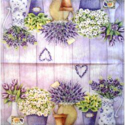 Szalvéta - Lila virágok szívecskével