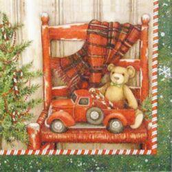 Szalvéta - Ajándék maci és autó