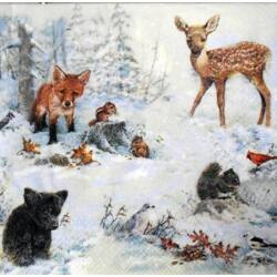 Szalvéta - Téli erdei állatok