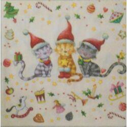 Szalvéta - Karácsonyi cicák