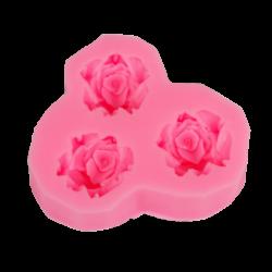 Szilikon nyomóforma, lágy - 3 rózsa