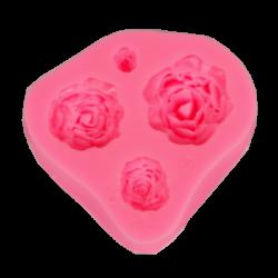 Szilikon nyomóforma, lágy - 4 rózsa