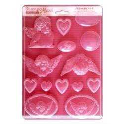 Lágy PVC öntőforma, A4 - Angels and hearts