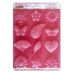 Lágy PVC öntőforma, A4 - Flowers, hearts and butterflies