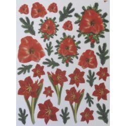 Fólia sablon - Piros virágos