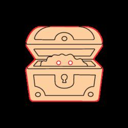 Mini Gomb Fafigura - Kincsesláda