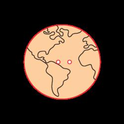 Mini Gomb Fafigura - Földgömb