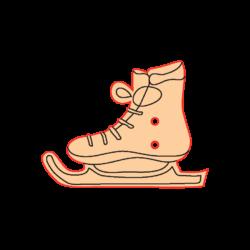 Mini Gomb Fafigura - Korcsolya