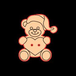 Mini Gomb Fafigura - Mikulás sapkás maci