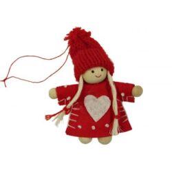 Téli manó lány piros sapkás piros ruhás + szív
