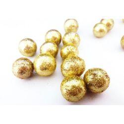 Csillámos hungarocell gömb arany, 10mm