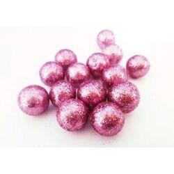 Csillámos hungarocell gömb pink, 13mm