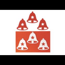 Filcfigura - Harang, csillagos, fehér-piros