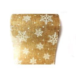 Hópehely mintás juta dekoranyag centiben