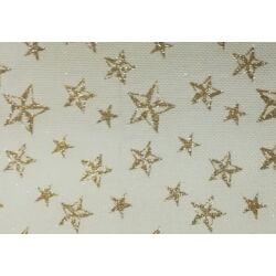 Arany csillag mintás juta dekoranyag centiben
