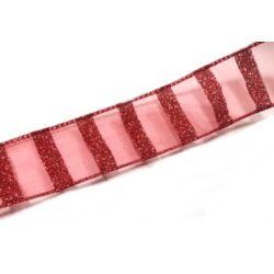 Csíkos glitteres szalag 4cm széles, piros