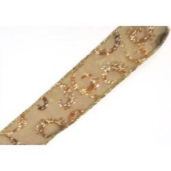Barna-arany glitteres szalag 4cm széles