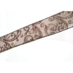 Barna glitteres indás juta szalag, 4cm széles