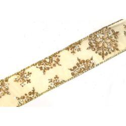 Glitteres hópelyhes szalag, arany 4cm széles