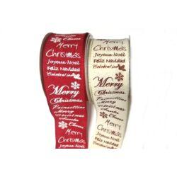 Karácsonyi feliratos szalag, 4cm széles