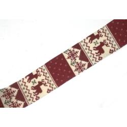 Karácsonyi mintás dekorszalag, piros 4,5cm széles