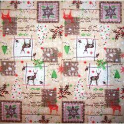 Szalvéta - Karácsonyi minták bézs