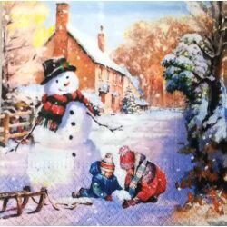 Szalvéta - Hóembert építő gyerekek