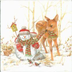Szalvéta - Hóember és őzike