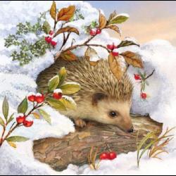 Szalvéta - Süni a hóban