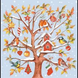 Szalvéta - Madárkák a havas fán