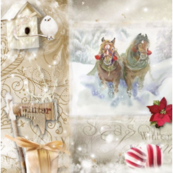 Szalvéta - Karácsony, lovak