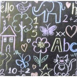 Szalvéta - Tábla színes rajzokkal