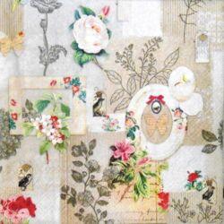 Szalvéta - Virágok és keretek