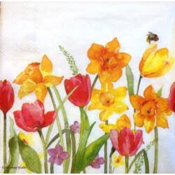 Szalvéta - Aquarell tavaszi virágok