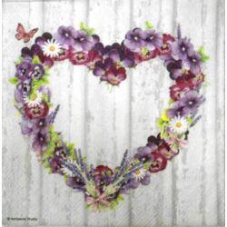 Szalvéta - Lila szív virágkoszorú