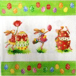 Szalvéta - Húsvéti táncoló nyuszik
