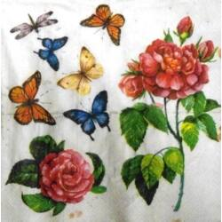 Szalvéta - Pillangók rózsás