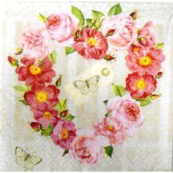 Szalvéta - Szív alakú virágkoszorú