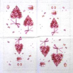 Szalvéta - Virágos szívek