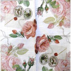 Szalvéta - Levél és rózsa