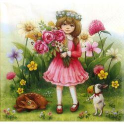 Szalvéta - Kislány virágcsokorral