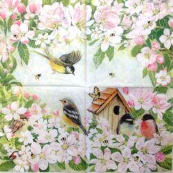 Szalvéta - Madarak és virágok, teljes kép