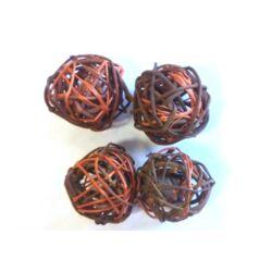 Rattan golyócska 4,5cm, barna-narancs