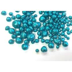 Mini glitteres golyócskák, türkizkék