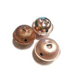 Fém csengő szett, rosegold - 3db - 3cm